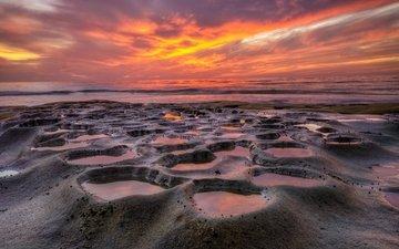 the sky, shore, sea, the ocean, sunrise