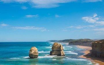 the sky, rocks, landscape, sea, coast, the ocean, australia