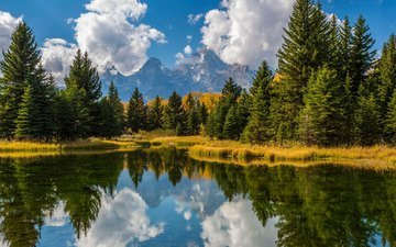 the sky, clouds, trees, water, mountains, the sun, reflection, usa, forest, grand teton, grand teton national park