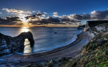 the sky, rocks, shore, sea, beach