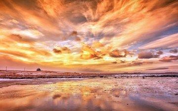 the sky, sunset, landscape