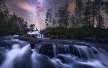 the sky, night, nature, stones, waterfall, stream
