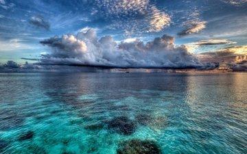 the sky, clouds, sea, seascape