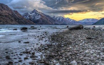 lake, mountains, stones, shore, sunset, landscape
