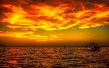 sunset, sea, ship