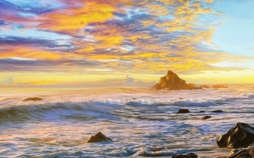 the sky, clouds, rocks, wave, the ocean, painting