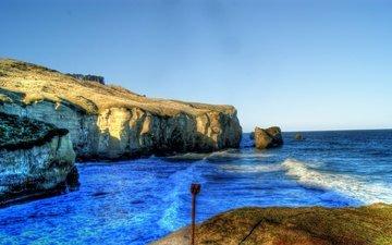rocks, shore, landscape, sea