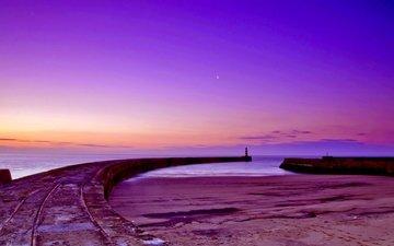 the sky, shore, sunset, sea, lighthouse, horizon, coast
