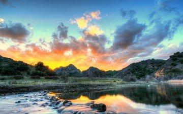 the sky, clouds, river, nature, landscape, usa, ca, malibu