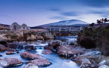 the sky, river, stones, landscape, mountain, bridge