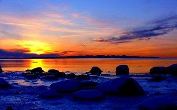 stones, sunset, sea, beach, horizon