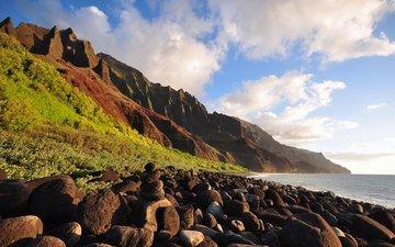 grass, clouds, mountains, rocks, stones, shore, landscape, sea, boulders