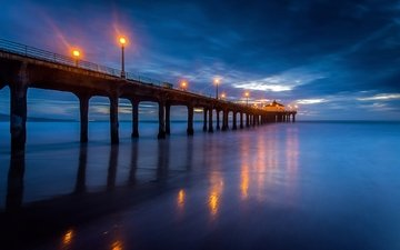 night, lights, the evening, nature, shore, sea, beach, pierce, pier, marina, ca