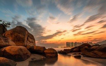скалы, берег, закат, пейзаж, море, камень