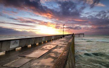 wave, sea, dawn, pierce, the breakwater
