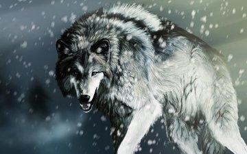 морда, снег, лапы, взгляд, рендеринг, хищник, оскал, волк