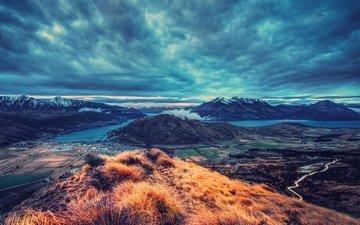 the sky, clouds, nature, shore, landscape, sea, horizon, mountain, hill, plateau
