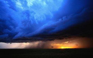 природа, буря, закат, дождь