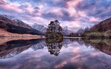 water, lake, mountains, nature, reflection, landscape, scotland, mountain range, lochan urr, glen etive