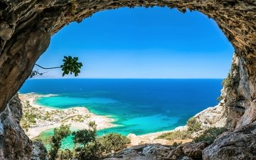 rocks, sea, beach, the ocean, cave
