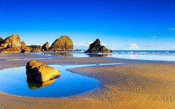 небо, камни, пейзаж, море, голубое