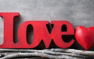 ветки, сердце, любовь, романтик, краcный, дерева