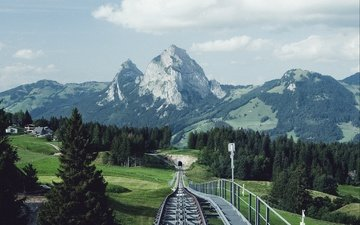 trees, mountains, railroad, rails, nature, landscape, switzerland, building