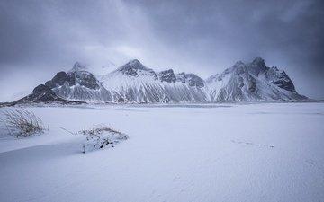 snow, nature, winter, landscape, iceland, vestrahorn, hofn