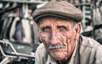 portrait, face, male, the old man, iran, wrinkles