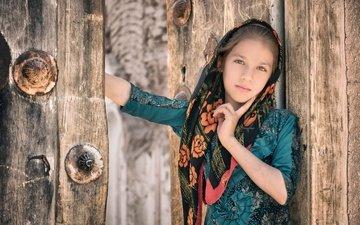 портрет, дети, девочка, ребенок, платок, иран