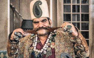 портрет, усы, лицо, мужчина, иран, султан
