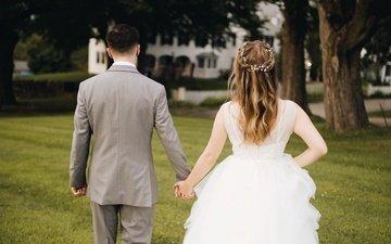 трава, любовь, жених, свадьба, невеста, влюбленные
