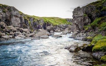 вечер, река, горы, скалы, камни, пейзаж, исландия, горная река
