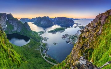 water, mountains, nature, landscape, the view from the top, norway, the lofoten islands, reine, reinebringen