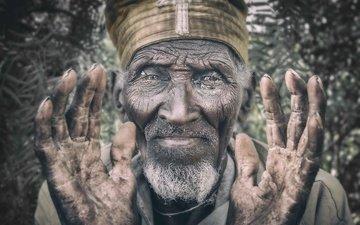 портрет, лицо, мужчина, старик, православные, эфиопия, lalibela