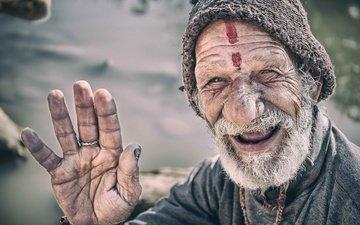 улыбка, портрет, лицо, мужчина, старик, непал, катманду, морщины