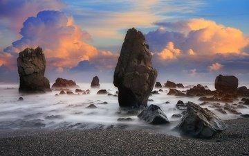 the sky, clouds, rocks, nature, landscape, sea, horizon, new zealand, rock