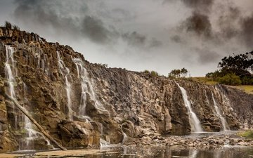 the sky, clouds, trees, water, rocks, nature, stones, waterfall