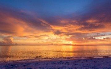 the sky, nature, landscape, sand, horizon, sunset, wave, usa, fl