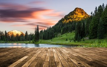 the sky, trees, lake, mountains, nature, forest, landscape, sunset, washington, usa, mount rainier, wood flooring