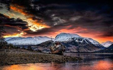 the sky, mountains, sunrise, nature, shore, sunset, clouds, landscape, sea, ship, boat, twilight