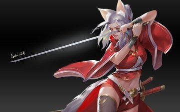 арт, девушка, меч, лиса, лисица, уши, мечи, художник, by run ze