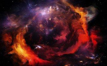 космос, цвета, звезды, галактика, туманность, красочные