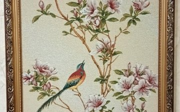 picture, cherry blossoms, bird of paradise, гобелен