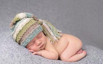 сон, спит, мальчик, младенец, шапочка, кроха