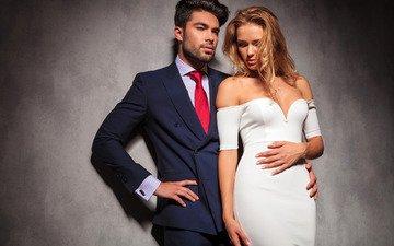 девушка, фон, платье, портрет, парень, стена, пара, костюм, мужчина, макияж, прическа, женщина, красотка, рубашка, галстук, пиджак