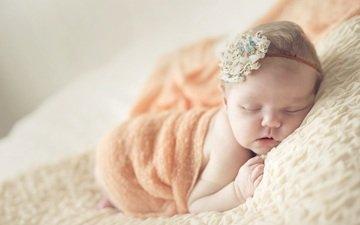 сон, спит, девочка, платок, бантик, малышка
