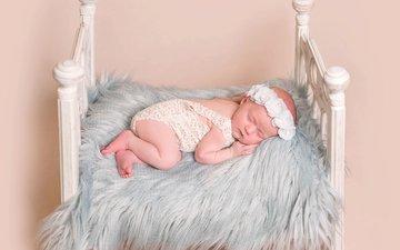 сон, спит, девочка, мех, малышка, кроватка