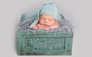 сон, спит, ребенок, мальчик, одеяло, малыш, младенец, шапочка, мех, кроха, новорожденный