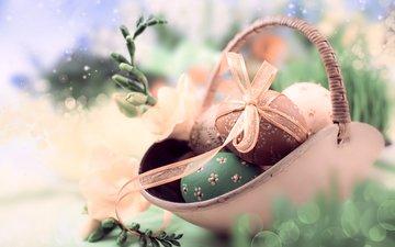 фон, весна, лента, пасха, праздник, корзинка, веточки, anya ivanova